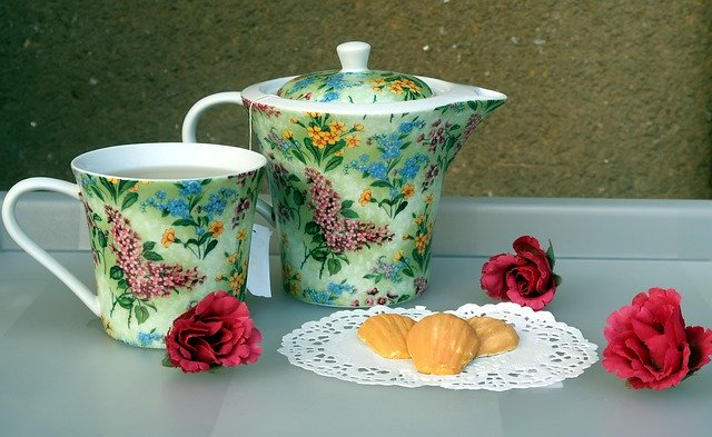 Miniature painting of tea pot and cup