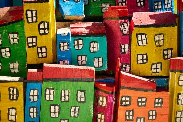 Houses miniature art painting