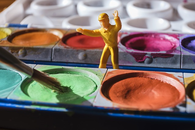 Toy soldier with paints
